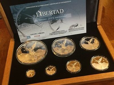 Mexico 2015 Official 7 Coin Libertad Silver Proof Set L@@K  5OZ-THRU-1/20 Rare