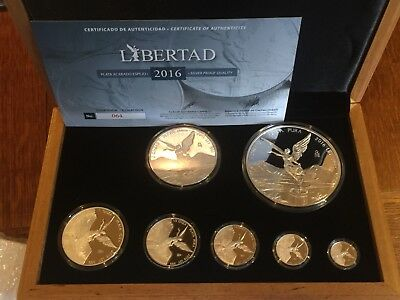 2016 Mexico Libertad 7 Coins Silver set  1/10,  1/20, 1/4, 1/2 1  2 & 5 oz PROOF