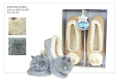 LADIES GIRLS VINTAGE DIAMONTE POM POM PUMP SLIPPERS IN GIFT BOX CHRISTMAS GIFT