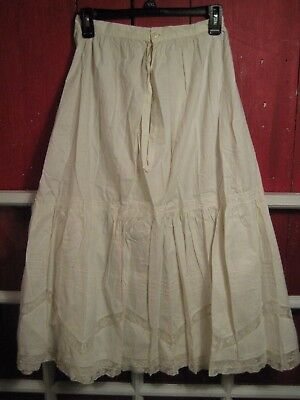 Antique French edwardian embroidered lace white Slip cotton linen Vintage skirt