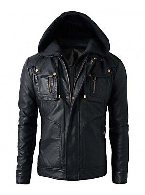 Mens Motorcycle Brando Style Biker Real Hooded Leather Hoodie Jacket Detach Hood