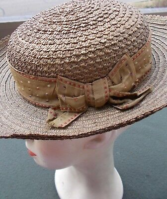 Charming young girl's straw hat...love the silk band  c. 1900