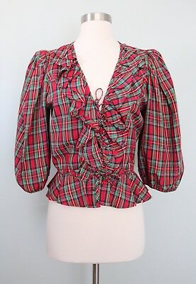 Vintage 70's 80's Plaid Blouse Top Puffy Shoulder Crop Holiday Christmas