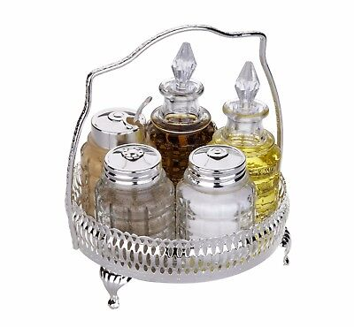 Queen Anne Silver Plated 5 Pce Round Cruet/Salt,Pepper,Mustard,Olive Oil,Vinegar