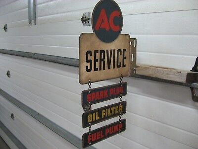 Vintage Ac Service Double Sided Flange Sign 1947 100% All Original Patina !