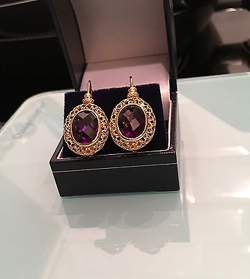 Wow Stunning 18ct Yellow Gold Filigree Large Oval Amethyst Single Drop Earrings