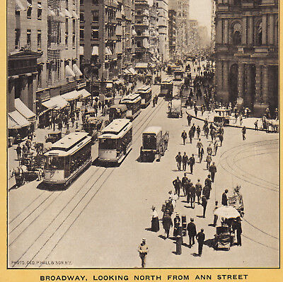 Broadway NY 1904 North from Ann St Trolley Singer Sewing photo Advertising Card