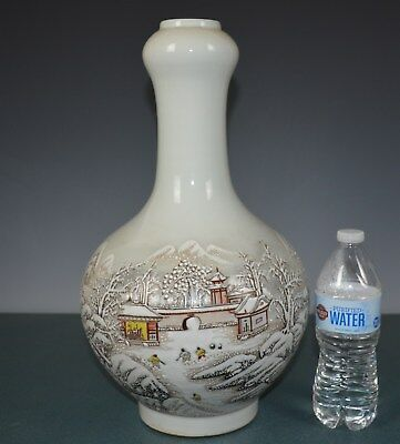 Magnificent Chinese Famille Rose Porcelain Vase Marked He Xuren Tn8929
