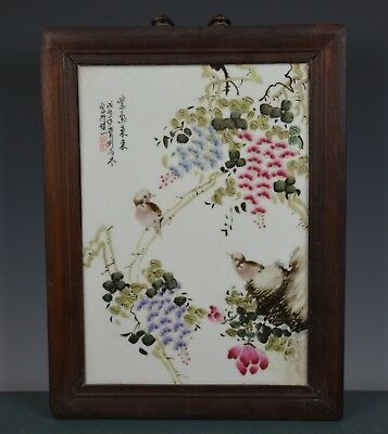 Fine Chinese Famille Rose Porcelain Plaque Signed Master Liu Yucen Gb2083