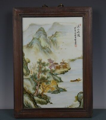 Fancy Chinese Famille Rose Porcelain Plaque Signed Master Wang Yeting Hn3901