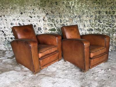 PAIR of ANTIQUE ART DECO FRENCH LEATHER CLUB ARM CHAIRS VINTAGE C1940