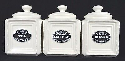 Set Of Three Ceramic Tea/sugar/coffee Canister Set White