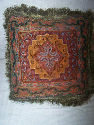 Antique Victorian Beaded Pillow Cushion w/ Gold Metal Fringe