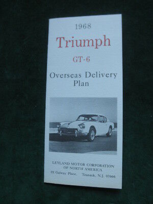 1968 Triumph GT-6 Brochure infro overseas delivery