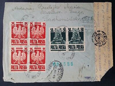 RARE 1945 Poland Censor Cover ties 6 stamps from Warsaw to Geneva via Egypt