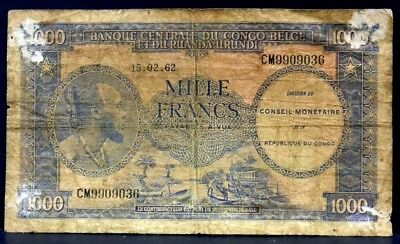 World Currency 15.0262 Belgium Congo 1000 Francs Rare