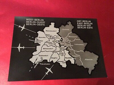 Berlin-Map Of Berlin Showing Wall And Crossing  Photograph 1970S Photocard