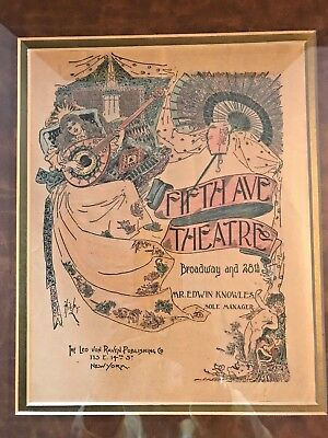 Antique Framed Ad FIFTH AVE THEATRE - Broadway N.Y. Late 1800's/ Early 1900's