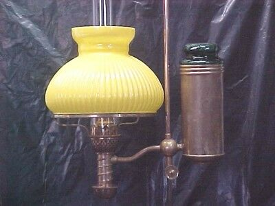 1870's Manhattan Student Oil Lamp, Complete W/ Shade, Very Good Condition