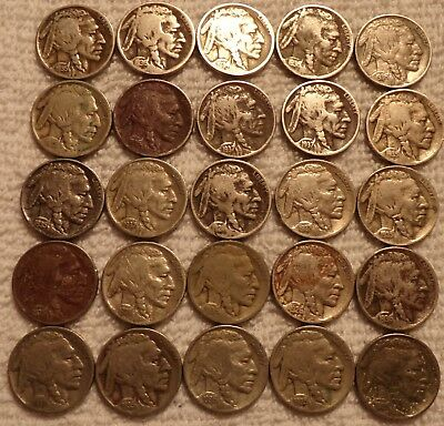 100 --- Full Date Buffalo Nickles 1920's thru 1930's Discolored
