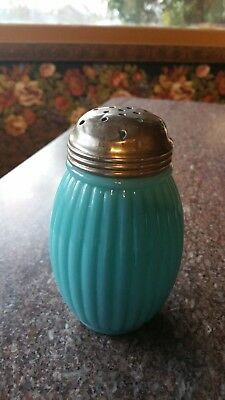 Antique Eapg Robin Egg Blue Opaque Sugar Shaker Sifter Muffineer Ribbed