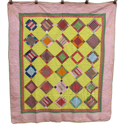 VIBRANT Adams County, PA scrapbag PUSS IN THE CORNER antique 1870s QUILT 8-9SPI