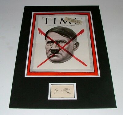 ORIGINAL HAND SIGNED MATTED 1940's CUT OF THE LEADER OF THE THIRD REICH - A.H.