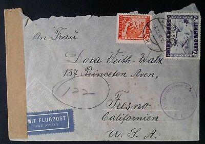 1948 Austria Censor Cover ties 2 Landscapes stamps canc Vienna to USA
