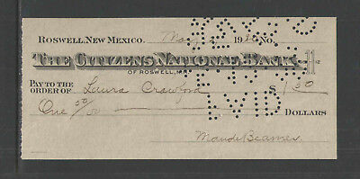"1920 The Citizens National Bank Roswell New Mexico 2.75"" X 6"" Antique Bank Check"