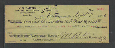1926 M B Hainsey Gen'l Merch Flour Feed Queen Pa Claysburg Pa Antique Bank Check