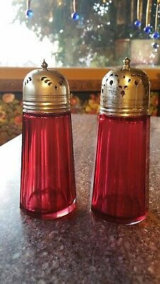 Antique Paneled Cranberry Glass Sugar Salt Pepper? Shakers Epns Silver Tops