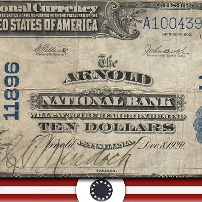 1902 $10 ARNOLD, PA  National Currency PENNSYLVANIA PAPER MONEY