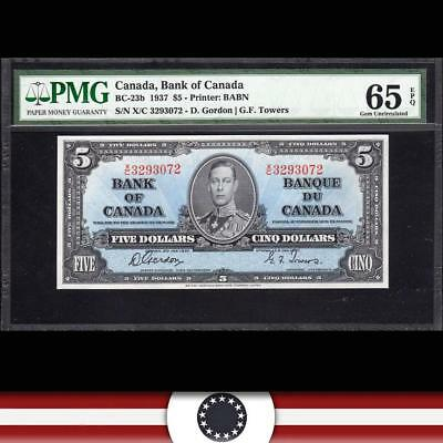 GEM 1937 $5 BANK of CANADA Bank Note PMG 65 EPQ  BC-23b