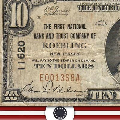 1929 $10 ROEBLING, NJ National Currency NEW JERSEY PAPER MONEY