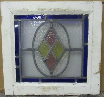 """OLD ENGLISH LEADED STAINED GLASS WINDOW Gorgeous Diamond 14.75"""" x 13.75"""""""