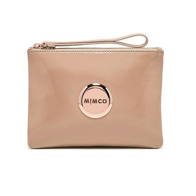 MIMCO LOVELY Medium Pouch BLUSH PINK Patent Leather Rose Gold Logo BNWT EXPRESS