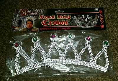 Royal Medieval Celtic Silver King Prince Crown with Gems Renaissance Costume