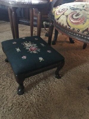 Antique Foot Stool Tapestry Needlepoint Carved French Stool