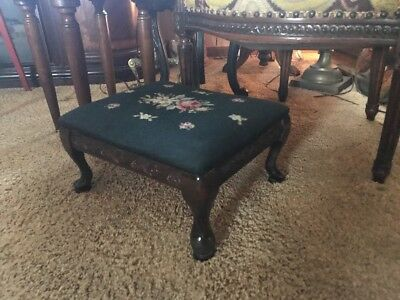 Tapestry Needlepoint 1900 Antique Carved French FootStool Pad Feet