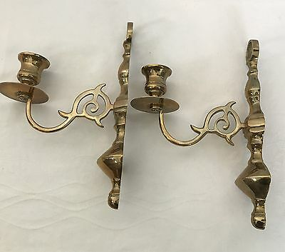 Pair Of Vintage Solid Brass Wall Art Sconces Candle Holder Figural Mid Century