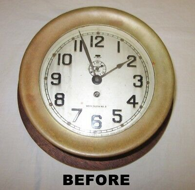 Chelsea Wall Clock, Deck No. 3, Brass, Working, Factory Refurbished