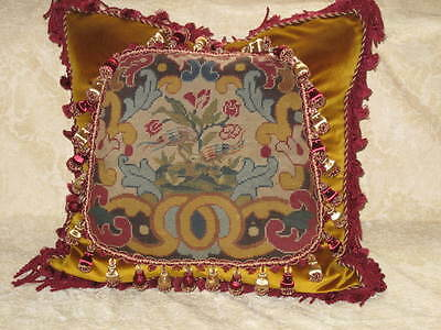 STRIKING 19TH c NEEDLEPOINT TAPESTRY CHIPPENDALE BIRD PILLOW #1
