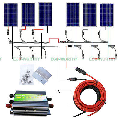 600W Complete Kit: 6 x 100W 18V PV Solar Panel for 24V Battery RV Boat Charge