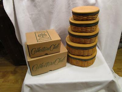 Longaberger Collectors Club Harmony Baskets Set of 5 with Lids and Protectors