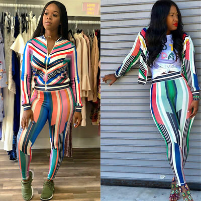 2pcs Women Fashion Long Sleeve Striped Printing Bodycon Jumpsuit Clubwear Casual