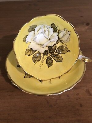 Paragon Fine Bone China Yellow With Large Rose Wide Tea Cup And Saucer Set