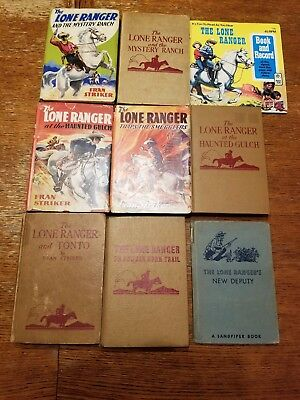 Lone Ranger books by Fran Striker lot of 8 plus Lone Ranger book with record