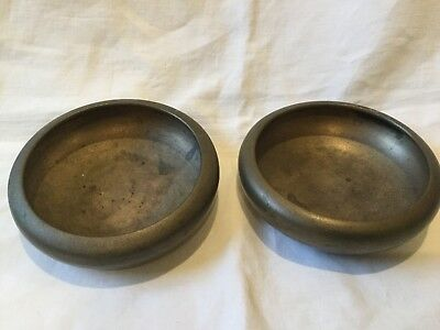 Vintage Chinese Asian Solid Bronze Pair of Shallow Bowls ~ Signed