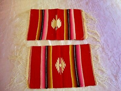 2 Vintage Woven Mexican Saltillo Wool Table Runner ~ 10 x 6