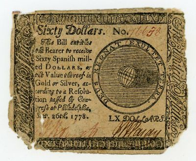 (CC-86) Sep 26, 1778 $60 Continental Currency Note - NO RESERVE!